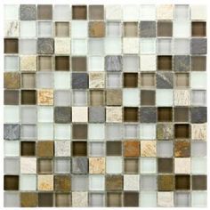 $13.75 /each - Merola Tile Tessera Square Tundra 11-3/4 in. x 11-3/4 in. Glass and Stone Mosaic Wall Tile
