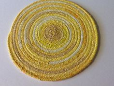 Yellow Coiled Rope Trivet  Fabric Hot Pad by Clothstitched on Etsy