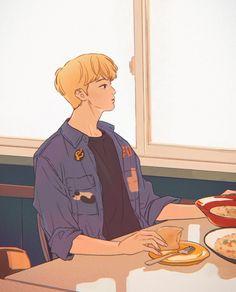 Boy Illustration, Character Illustration, Kpop Drawings, Cartoon Boy, Mark Nct, Korean Art, Kpop Fanart, Boy Art, Aesthetic Art