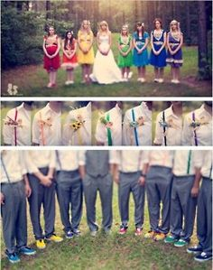 A tasteful pantone inspired wedding, with coordinating colored suspenders.