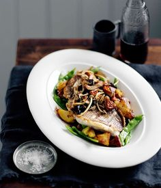 Australian Gourmet Traveller recipe for fish and chips (and mushrooms) by Hugh Wennerbom and Mary Ellen Hudson.