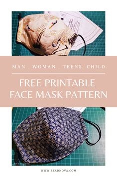 DIY Face Mask - Free Printable Face Mask Pattern Pattern for Man, Women & Teens, Child & Small Child Printable Fabric, Printable Masks, Templates Printable Free, Printables, Mens Face Mask, Easy Face Masks, Diy Face Mask, Sewing Patterns Free, Free Pattern