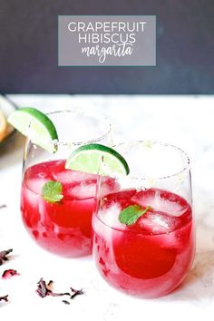 This grapefruit hibiscus margarita is the perfect cocktail recipe to make you think of summer! Fresh grapefruit and lime juice, homemade hibiscus simple syrup and a little muddled mint make this a fun and tropical cocktail!
