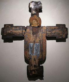 Pittore ambito lucchese - Croce dipinta con dolenti e pantacroatore - 1190-1220 ca. -  Museo nazionale di Villa Guinigi, Lucca