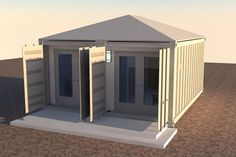2x20-foot-container-house-v1 exterior doors open