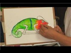Blending Oil Pastels with Elementary - Have them draw their own chameleon first during the first session. Then do oil pastel technique during the second lesson.