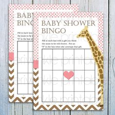 INSTANT DOWNLOAD Printable Baby Shower Games, Giraffe Baby Shower, Printable Baby Shower Bingo, Printable Party Decorations, brown chevron; @Amanda Jensik