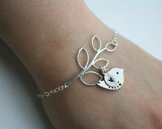 Bird bracelet, initial bracelet, silver bird jewelry, personalized bracelet, leaf bracelet - monogrammed wedding bridesmaids gift. $31.00, via Etsy.