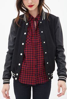 Forever 21 Varsity Jacket: Forever 21 Faux Leather Varsity Jacket ($40)