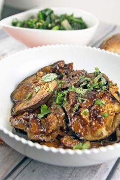 Moroccan Honey Glazed Eggplant: meltingly soft eggplant, glazed in a sweet and spicy honey and harissa sauce.  Vegan and gluten free!  {Bunsen Burner Bakery}.jpg