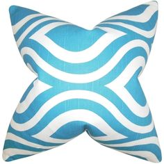 Jaslene Blue Geometric 18-inch Feather Filled Throw Pillow