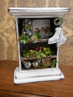 Ooak miniature White Christmas shelf with by Mosswayminiatures