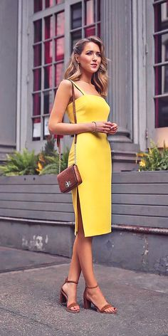 27 Wedding Guest Dresses For Every Seasons & Style ❤ wedding guest dresses spring knee length spaghetti straps yellow milly ❤ See more: http://www.weddingforward.com/wedding-guest-dresses/ #weddingforward #wedding #bride