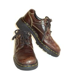 Dr. Martens Size 7 UK 5 Shoes Womrn's ENGLAND Made Brown Oxford Girls... ($40) ❤ liked on Polyvore featuring shoes