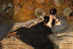The Lady with Fans, Portrait of Nina de Callias, c.1874 by Edouard Manet | Oil Painting Reproduction | ncArtCo.com