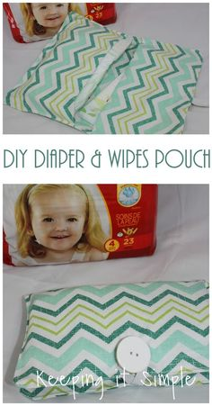 Super easy DIY diaper and wipes pouch, perfect for those who don't want to lug around a diaper bag all day!