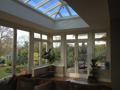 Interior of wood orangery with roof lantern