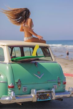 Omg, that CAR!!!    How to get perfect Beach Hair. http://blog.swell.com/Slice-of-Life-0810