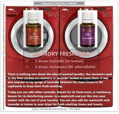 Laundry freshener - ditch the chemical-laden dryer sheets and just add a few drops of essential oils to a towel! Facebook: Living a Chemical Free Lifestyle #youngliving #laundry