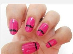 Pink nails with tiny moustaches