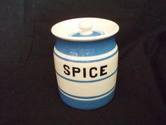Price Kensington Bros Cornish Blue Striped pottery Spice Jar
