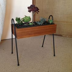 Mid century style planter box on side mount hairpins. Planter box is handmade and veneered here at Kurrlsons, as are the iron legs.