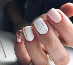 Pink And Rose Gold Glitter Nails. Pink And White Nails. Pink And Rose Gold Glitter Nails. Pink And White Nails. Cute Spring Nails, Spring Nail Art, Nail Designs Spring, Acrylic Spring Nails, White Nail Designs, Short Nails Acrylic, Glittery Acrylic Nails, Gel Nail Art Designs, Gold Nail Art