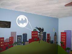 kid, superhero themed, Murals, décor superhero, campbell campbell, eventual hypothetical, jaxon's playroom, design addicts, peggy barrett