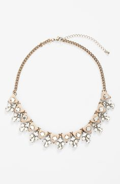Pretty blush stone and crystal statement necklace.