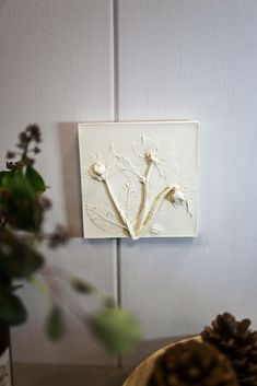 Wall square flower bas relief in scandinavian style by DinaArtDecor. Hellebore plaster cast tile from pressed flowers. Eco-friendly nursery wall hanging decor. The botanical panel is ideal for decorating the entrance hall, living room, kitchen, bedroom or baby room. These panels are an amazing gift for nature lovers #vintagewallart #artwork #walldecor