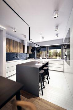 aménagement cuisine avec un bar couleur noire et tabourets de bar