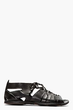 Alexander McQueen Black Leather Mid Top Lace Up Sandals for men | SSENSE