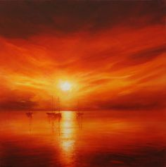 How to Paint a Sunset   Original sunset painting by dorset artist Stella Dunkley