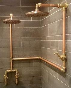 2 shower heads Outdoor Bathrooms, Rustic Bathrooms, Bad Inspiration, Bathroom Inspiration, Basement Bathroom, Master Bathroom, Bathroom Plumbing, Bathroom Small, Bathroom Ideas