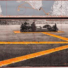Christo, Floating Piers (Project for Lake Iseo, Italy), 2015, pencil, charcoal, wax crayon, pastel, enamel paint, fabric sample, topographic map, and cut-out photographs by Wolfgang Volz. ©CHRISTO/COURTESY GALERIE GMURZYNSKA