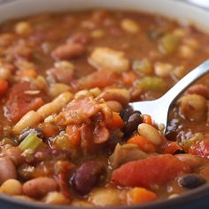 This rich and hearty stovetop 15 bean soup is a healthy inexpensive meal Make it with a leftover ham bone or ham hock or serve it as a filling vegetarian main Freezer friendly and always a crowd pleaser via wellplated Healthy Beans, Healthy Soup Recipes, Vegetable Recipes, Vegetarian Recipes, Cooking Recipes, Tomato Vegetable, 10 Bean Soup Recipe Vegetarian, Cajun 15 Bean Soup Recipe, Crockpot 15 Bean Soup