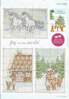 Deer & Gingerbread House Cross Stitch Pattern