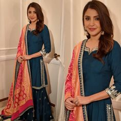 Excited to share this item from my shop: VeroniQ Trends- Bollywood Star Anushka Sharma Inspired Royal Blue Palzzo Kurti Set with Chanderi Silk Dupatta-Wedding,Party,Casual Wear Sharara Designs, Indian Attire, Indian Ethnic Wear, Indian Suits Punjabi, Pakistani Suits, Sharara Suit, Salwar Kameez, Patiala, Salwar Suits