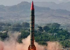 Pakistan's nuclear capable Ghauri missile. The third horn has surpassed India's supply of nuclear missiles at 100-120. More at www.andrewtheprophet.com