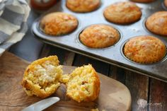Bacon Cornbread Muffins: Notes: I used 4 thick-cut slices of bacon to yield about 1/3 cup. I added 3/4 cup of shredded Red Leicester cheese to the dry ingredients (sharp cheddar or pepper jack would be great, too).