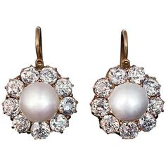 Pre-owned Antique Russian Pearl Diamond Gold Cluster Earrings (€10.355) ❤ liked on Polyvore featuring jewelry, earrings, drop earrings, pearl cluster earrings, 14 karat gold earrings, yellow gold diamond earrings, antique diamond earrings and 14k diamond earrings