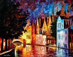 Brujas la Venecia del norte Ciudad de Bélgica por AfremovArtStudio