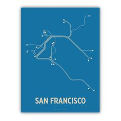 San Fransico Lineposter Blue/Tan by lineposters on Etsy, $20.00