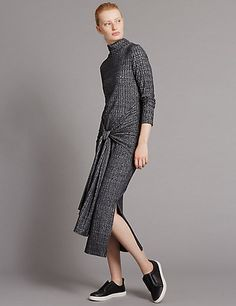 SHOP A/W 16: Another great example of a ribbed knit dress with tie front detail - so chic.