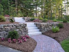 retaining wall garden idea... I would love to do something like this to the front yard