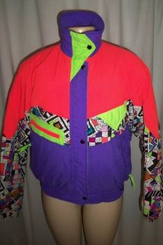 Vintage 80s Color Block Neon Multi Color Puffy Ski Snow Winter Jacket Coat M | eBay @Caroline Simpson