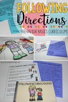 Following directions in the classroom.  Following directions social story.  Behavior basics curriculum for special education classroom. Social Skills Activities, Learning Activities, Activities For Kids, Autism Classroom, Special Education Classroom, Help Teaching, Student Teaching, Self Contained Classroom, Cue Cards