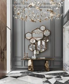 created this outstanding A combination of with details has a statement. Modern Mirror Design, Foyer Design, Entrance Design, Home Room Design, Living Room Designs, House Design, Modern Mirrors, Luxury Home Decor, Luxury Interior Design