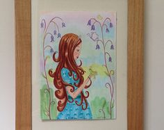 Check out Illustration fairytale art original drawing, princess and the frog. Girls room art gifts for Girls. Wall Art work LumisaDesign handmade. on lumisadesign