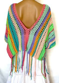 Womens Knit Sweater, Mohair Sweater, Poncho Sweater, Cotton Sweater, Crochet Poncho, Knit Or Crochet, Granny Square Poncho, Pull Long, Festival Tops